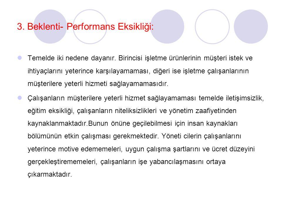 3. Beklenti- Performans Eksikliği: