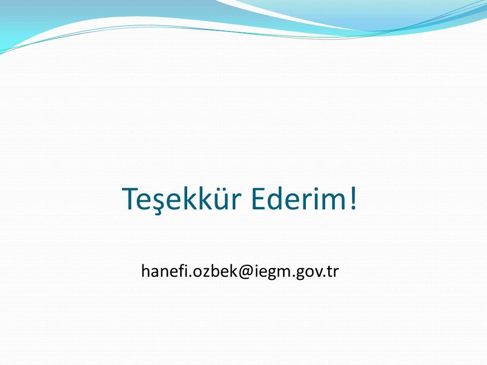 Teşekkür Ederim! hanefi.ozbek@iegm.gov.tr