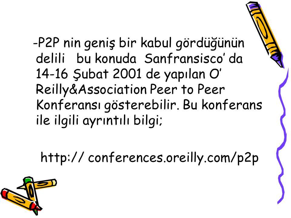 -P2P nin geniş bir kabul gördüğünün delili bu konuda Sanfransisco' da 14-16 Şubat 2001 de yapılan O' Reilly&Association Peer to Peer Konferansı gösterebilir. Bu konferans ile ilgili ayrıntılı bilgi;