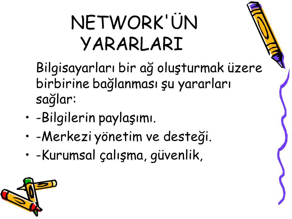 NETWORK ÜN YARARLARI Bilgisayarları bir ağ oluşturmak üzere birbirine bağlanması şu yararları sağlar: