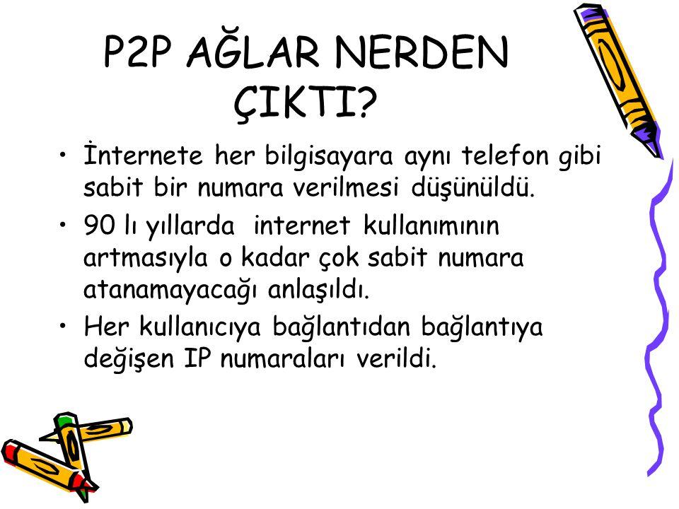 P2P AĞLAR NERDEN ÇIKTI İnternete her bilgisayara aynı telefon gibi sabit bir numara verilmesi düşünüldü.