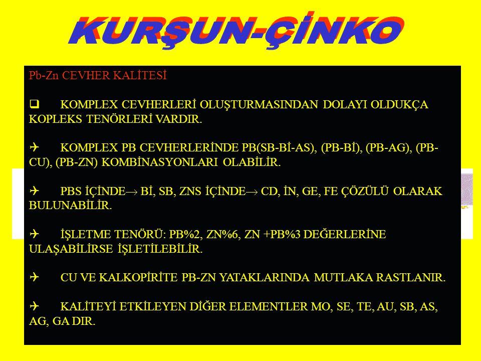 KURŞUN-ÇİNKO Pb-Zn CEVHER KALİTESİ
