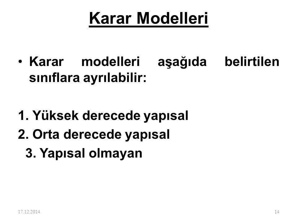 Karar Modelleri Karar modelleri aşağıda belirtilen sınıflara ayrılabilir: 1. Yüksek derecede yapısal.