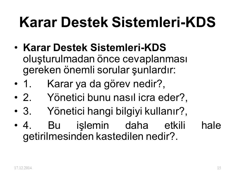 Karar Destek Sistemleri-KDS