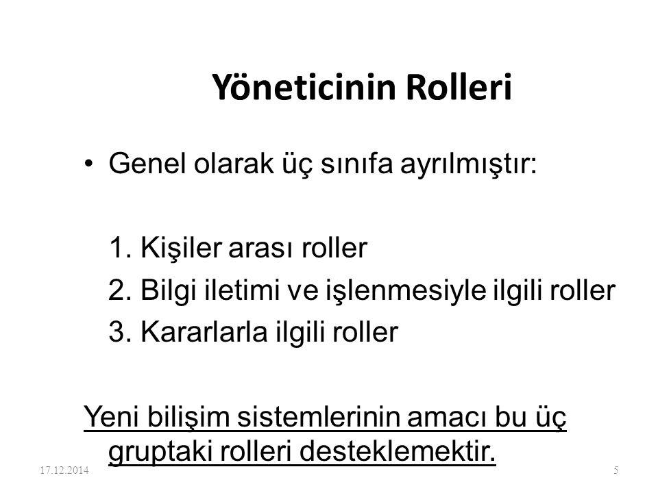 Yöneticinin Rolleri Genel olarak üç sınıfa ayrılmıştır: