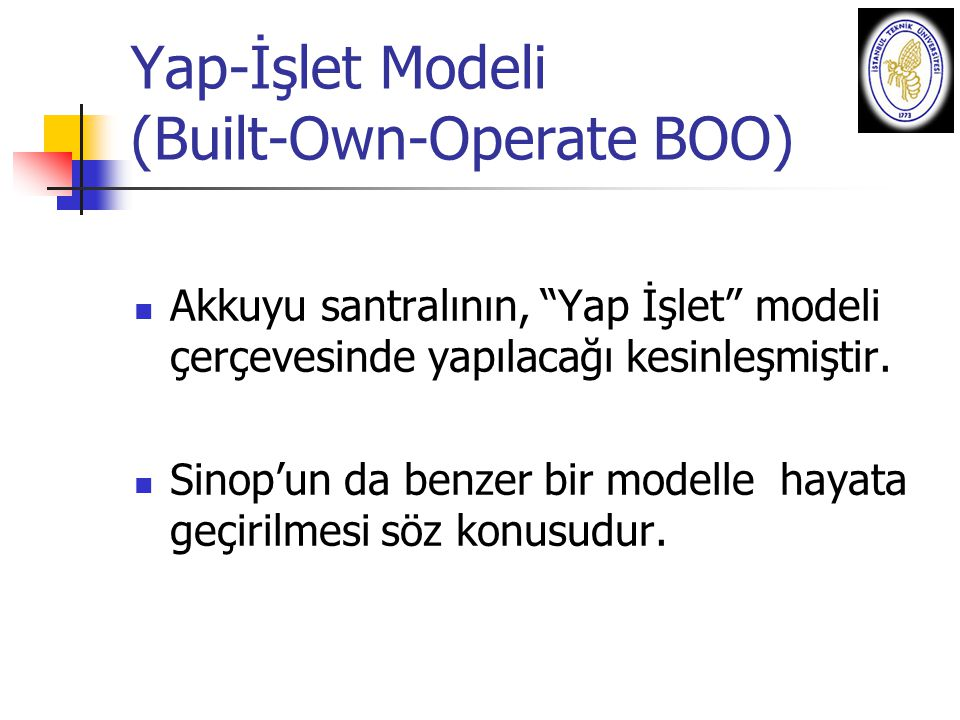 Yap-İşlet Modeli (Built-Own-Operate BOO)