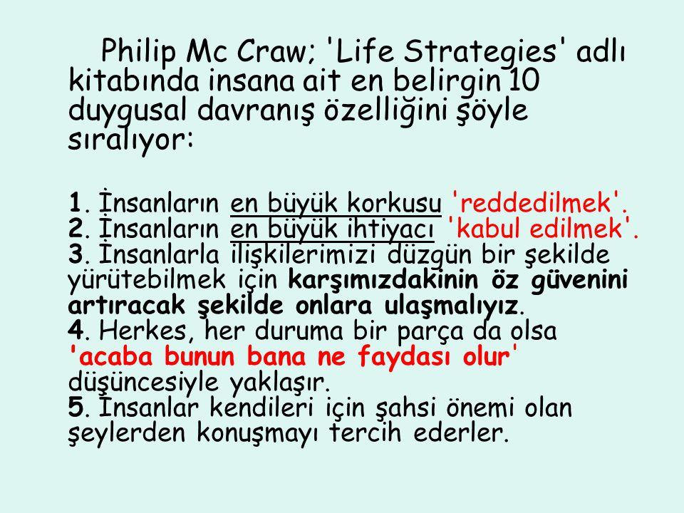 Philip Mc Craw; Life Strategies adlı kitabında insana ait en belirgin 10 duygusal davranış özelliğini şöyle sıralıyor: