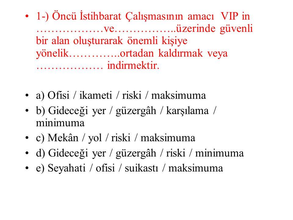 1-) Öncü İstihbarat Çalışmasının amacı VIP in ………………ve……………