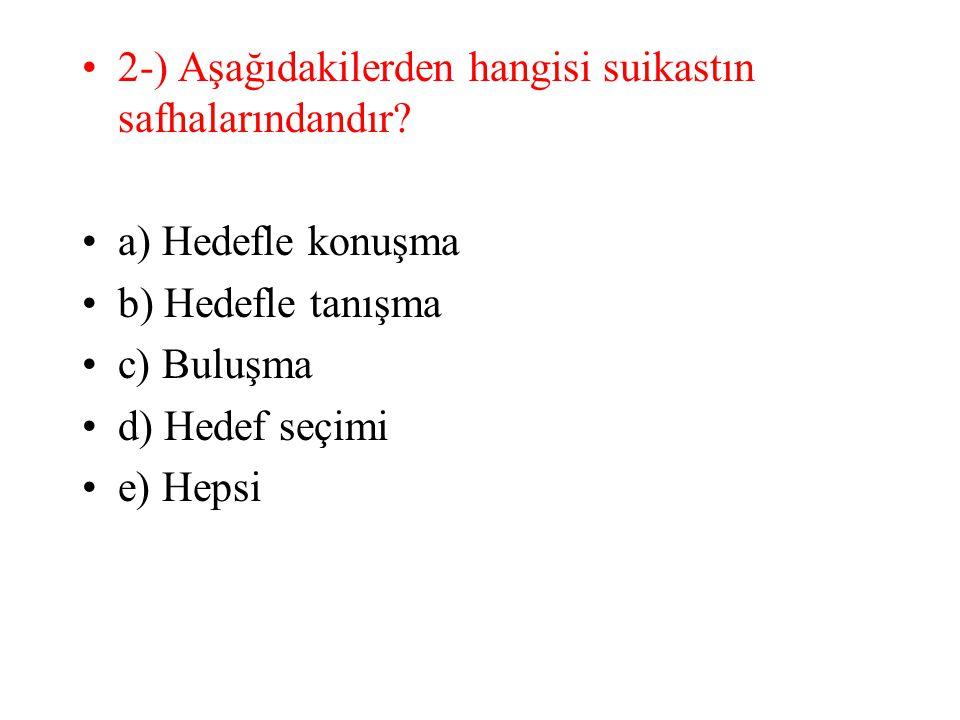 2-) Aşağıdakilerden hangisi suikastın safhalarındandır