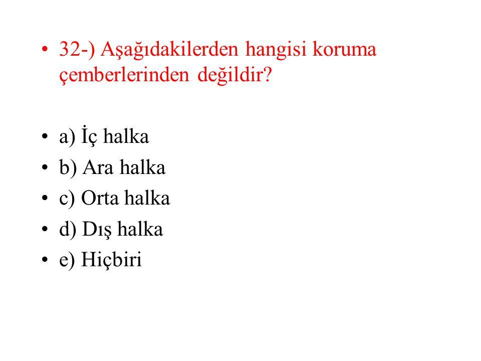 32-) Aşağıdakilerden hangisi koruma çemberlerinden değildir