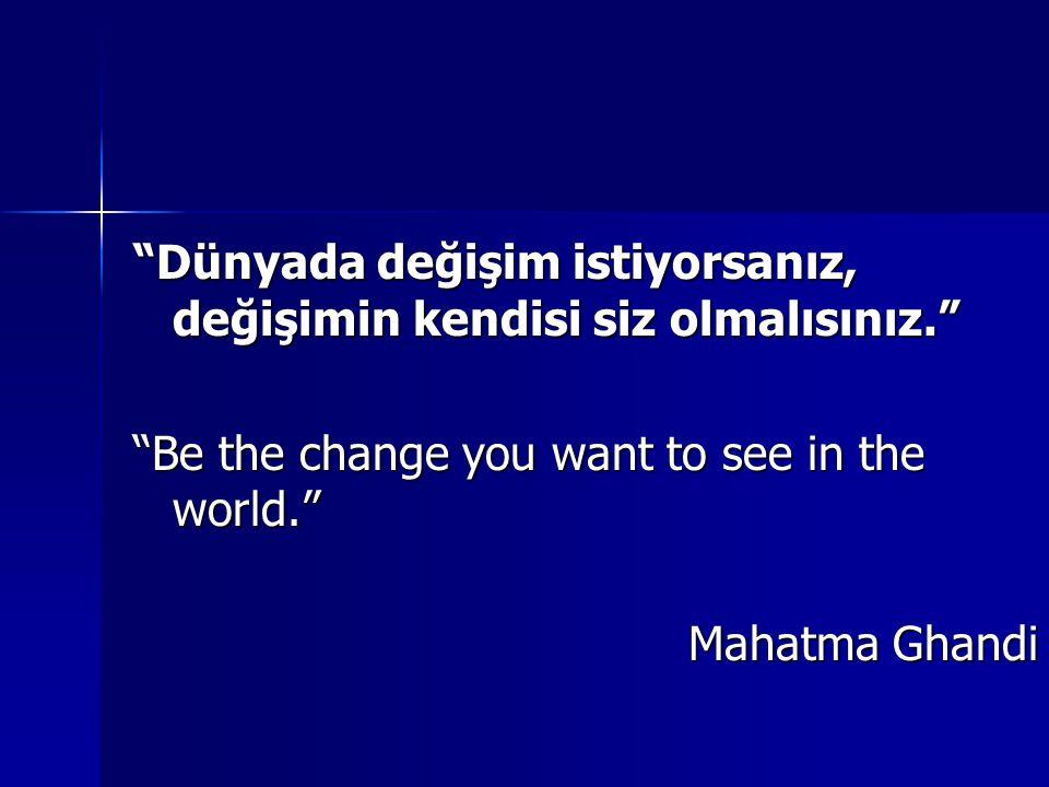 Dünyada değişim istiyorsanız, değişimin kendisi siz olmalısınız.