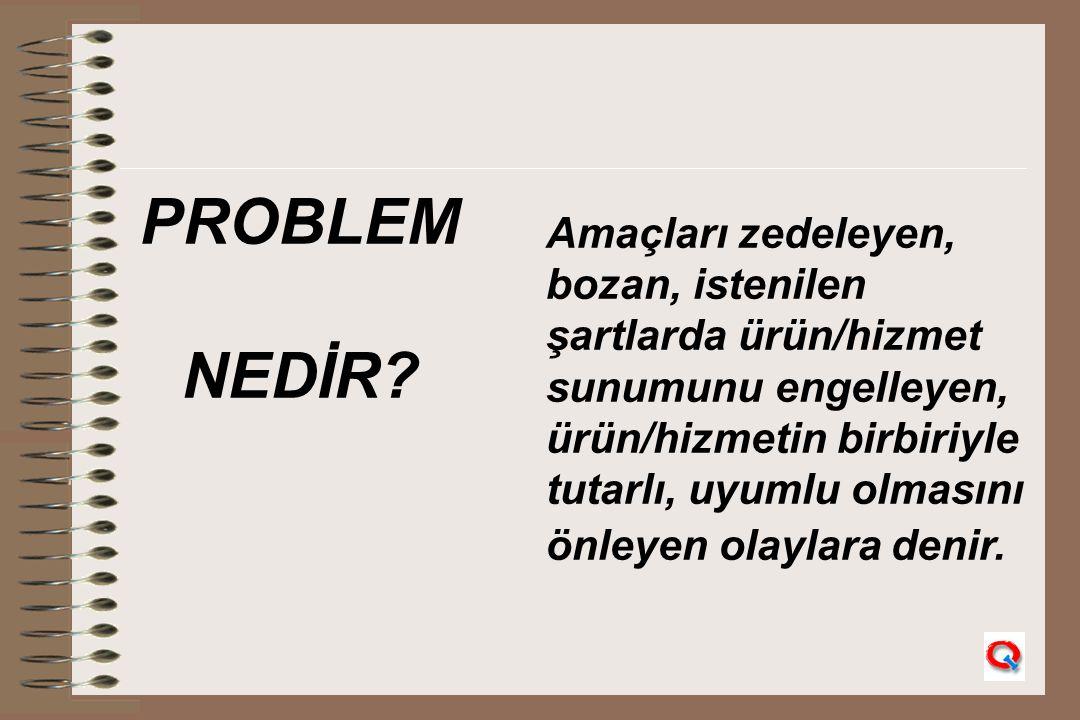 PROBLEM NEDİR Amaçları zedeleyen, bozan, istenilen