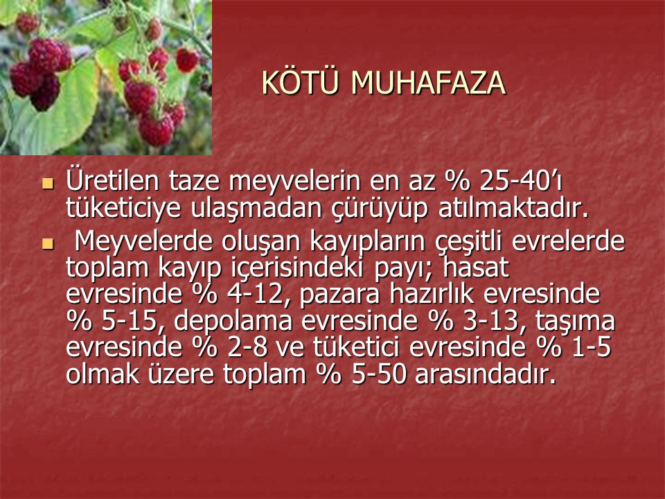 KÖTÜ MUHAFAZA Üretilen taze meyvelerin en az % 25-40'ı tüketiciye ulaşmadan çürüyüp atılmaktadır.