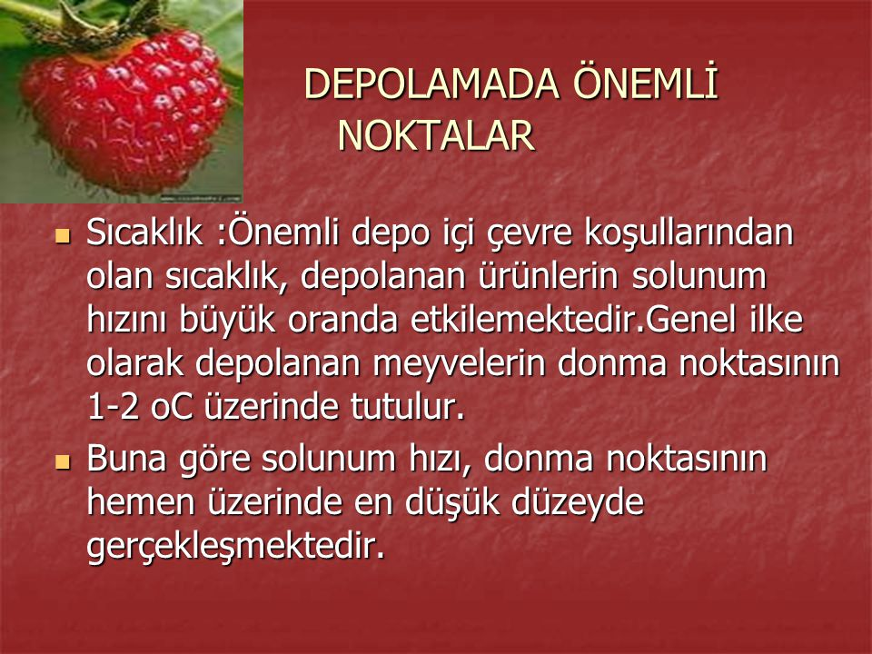 DEPOLAMADA ÖNEMLİ NOKTALAR