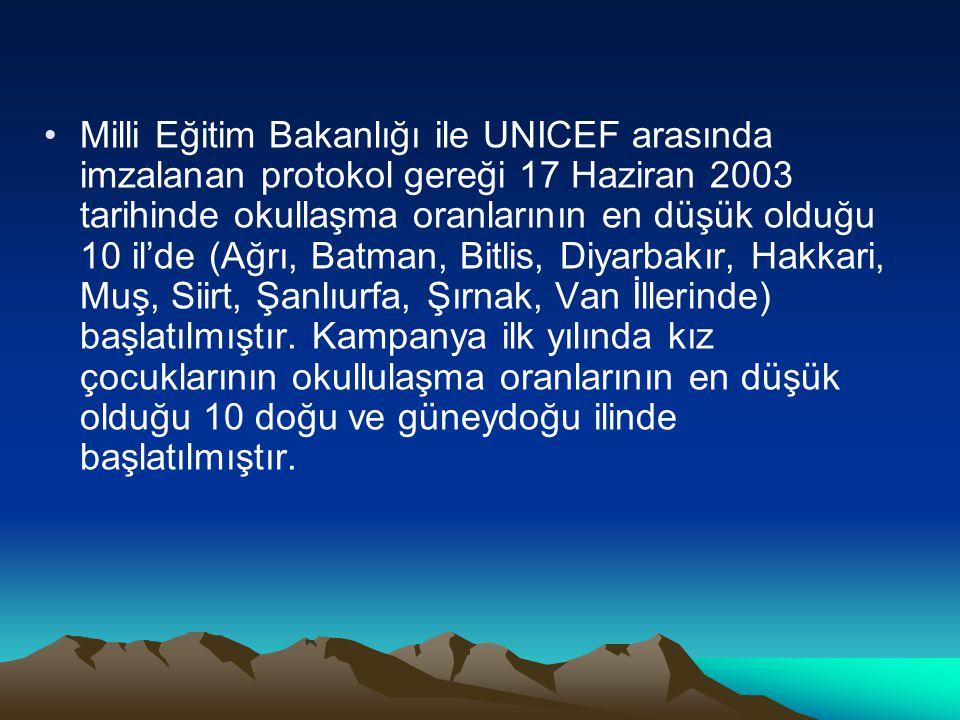 Milli Eğitim Bakanlığı ile UNICEF arasında imzalanan protokol gereği 17 Haziran 2003 tarihinde okullaşma oranlarının en düşük olduğu 10 il'de (Ağrı, Batman, Bitlis, Diyarbakır, Hakkari, Muş, Siirt, Şanlıurfa, Şırnak, Van İllerinde) başlatılmıştır.