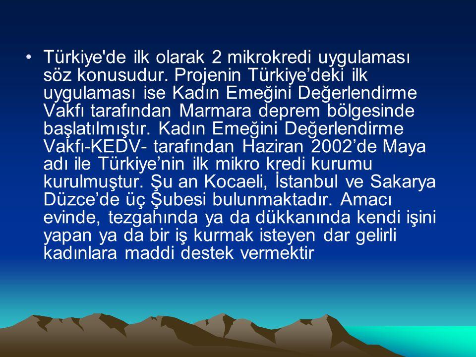 Türkiye de ilk olarak 2 mikrokredi uygulaması söz konusudur