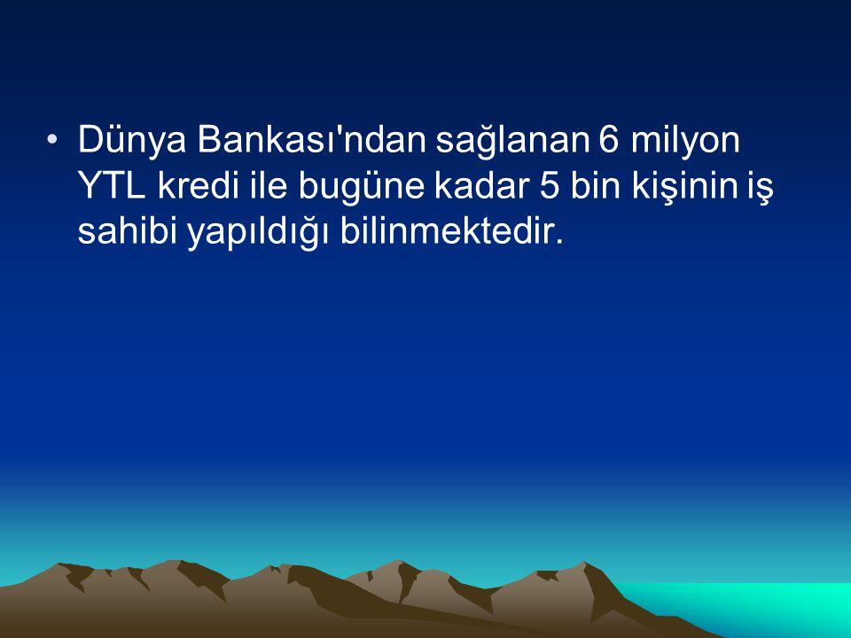 Dünya Bankası ndan sağlanan 6 milyon YTL kredi ile bugüne kadar 5 bin kişinin iş sahibi yapıldığı bilinmektedir.