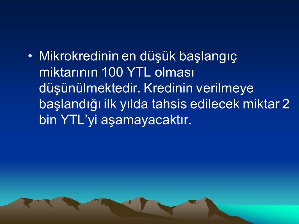 Mikrokredinin en düşük başlangıç miktarının 100 YTL olması düşünülmektedir.
