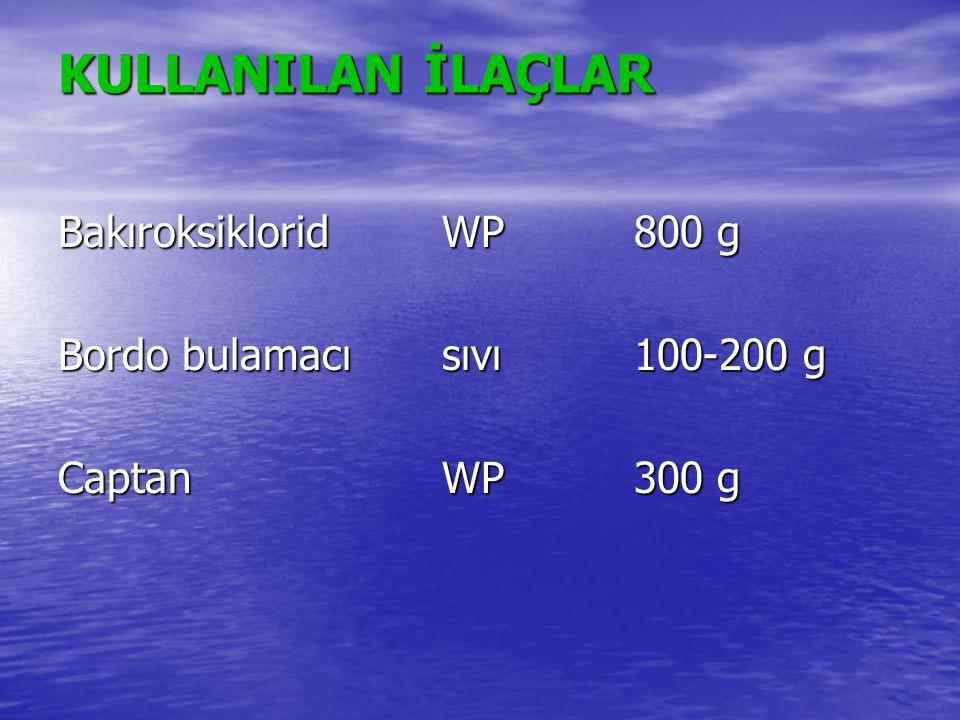 KULLANILAN İLAÇLAR Bakıroksiklorid WP 800 g