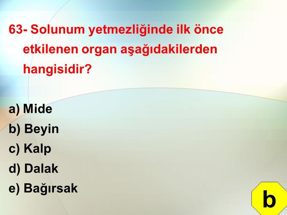 63- Solunum yetmezliğinde ilk önce etkilenen organ aşağıdakilerden hangisidir