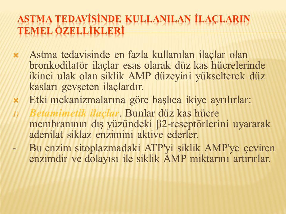 ASTMA TEDAVİSİNDE KULLANILAN İLAÇLARIN TEMEL ÖZELLİKLERİ