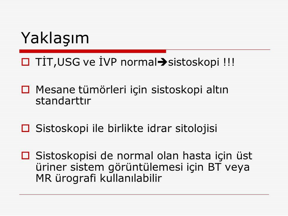Yaklaşım TİT,USG ve İVP normalsistoskopi !!!
