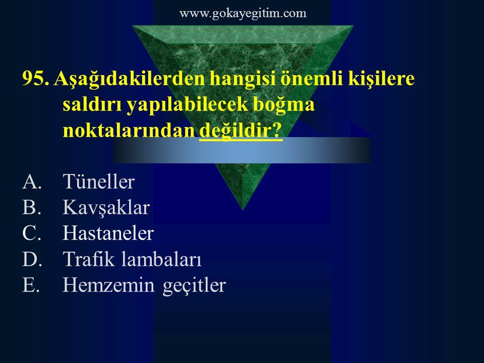 www.gokayegitim.com 95. Aşağıdakilerden hangisi önemli kişilere saldırı yapılabilecek boğma noktalarından değildir