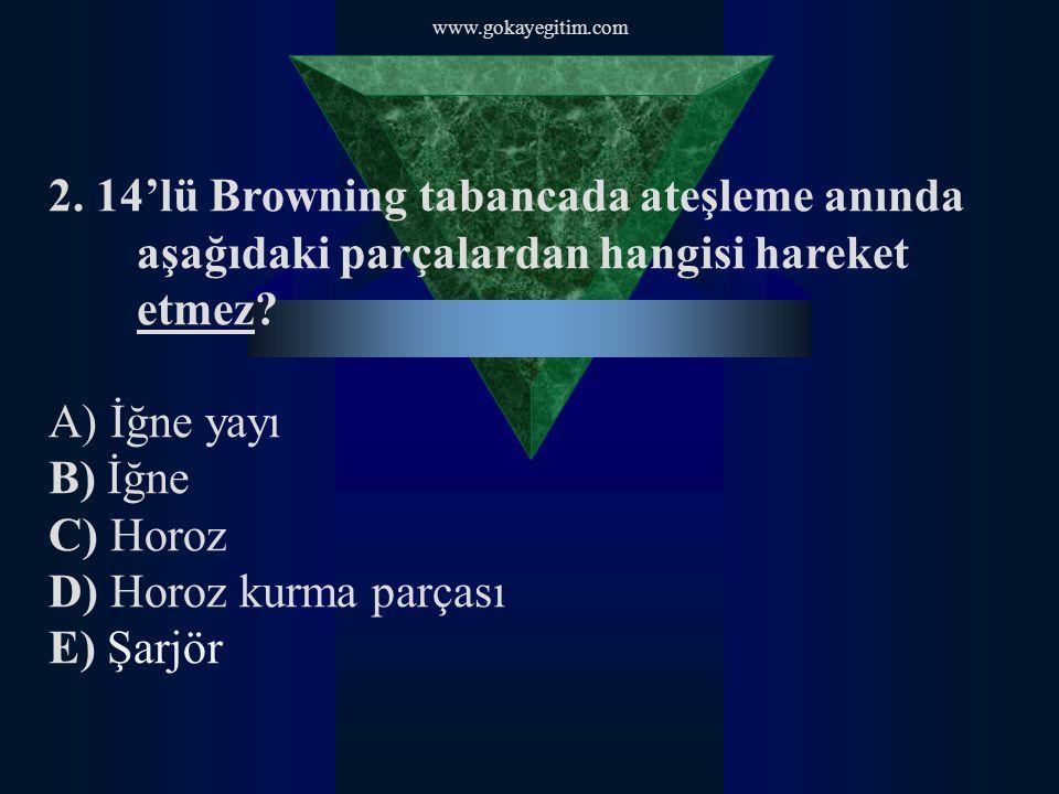 www.gokayegitim.com 2. 14'lü Browning tabancada ateşleme anında aşağıdaki parçalardan hangisi hareket etmez