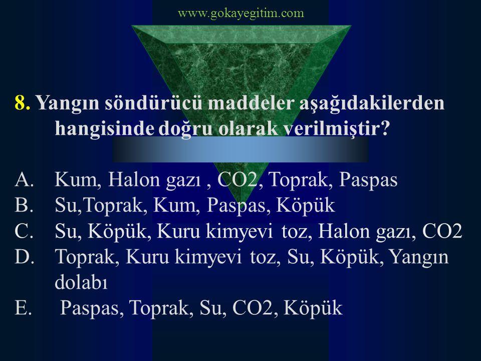 Kum, Halon gazı , CO2, Toprak, Paspas Su,Toprak, Kum, Paspas, Köpük