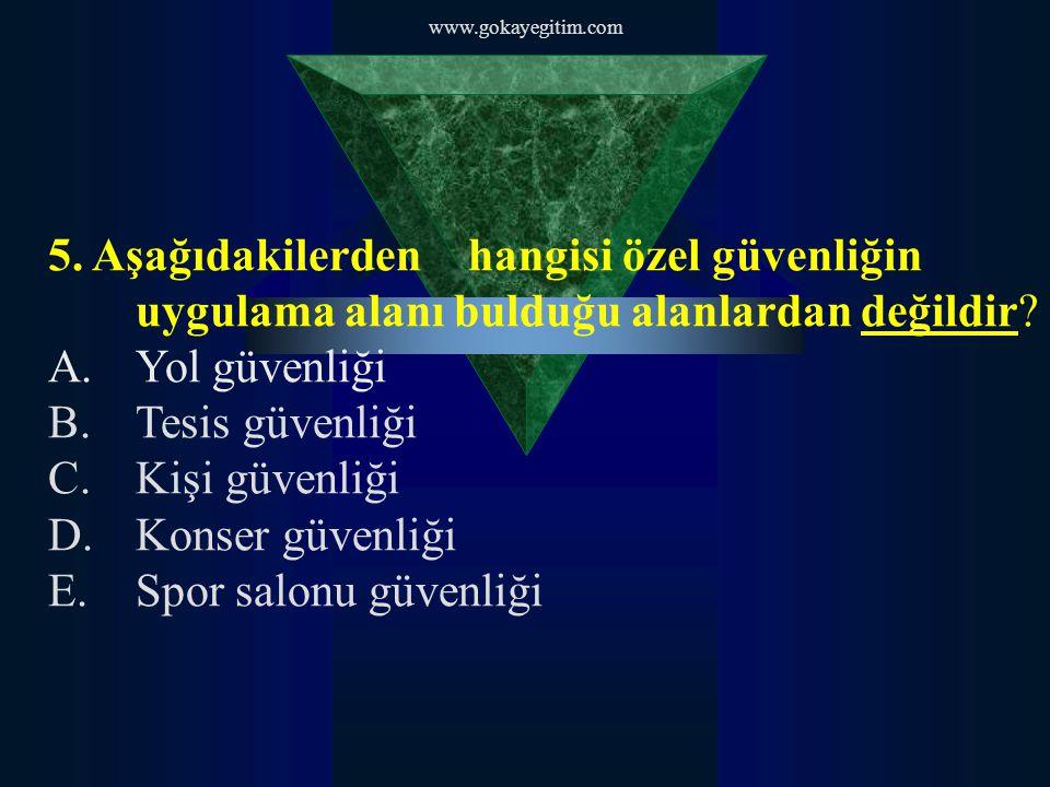 www.gokayegitim.com 5. Aşağıdakilerden hangisi özel güvenliğin uygulama alanı bulduğu alanlardan değildir