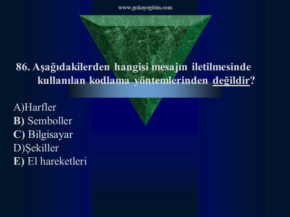 www.gokayegitim.com 86. Aşağıdakilerden hangisi mesajın iletilmesinde kullanılan kodlama yöntemlerinden değildir