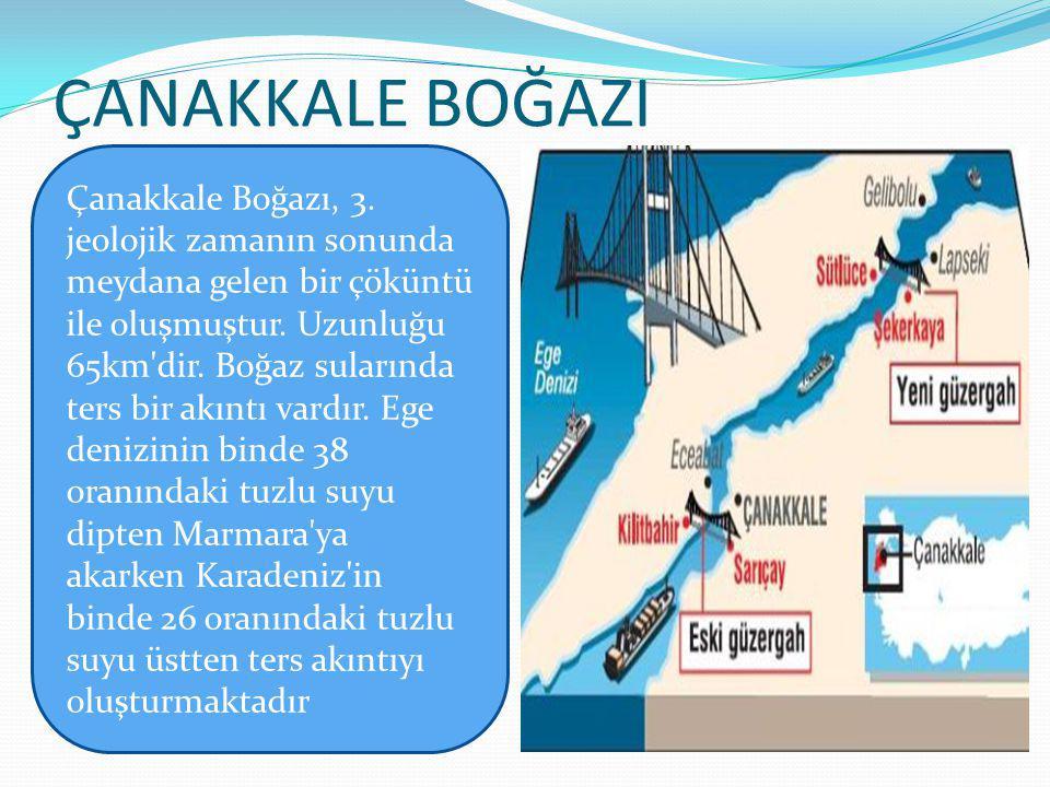 ÇANAKKALE BOĞAZI Çanakkale Boğazı, 3. jeolojik zamanın sonunda meydana gelen bir çöküntü.