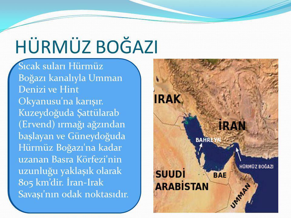 HÜRMÜZ BOĞAZI Sıcak suları Hürmüz Boğazı kanalıyla Umman Denizi ve Hint Okyanusu na karışır.
