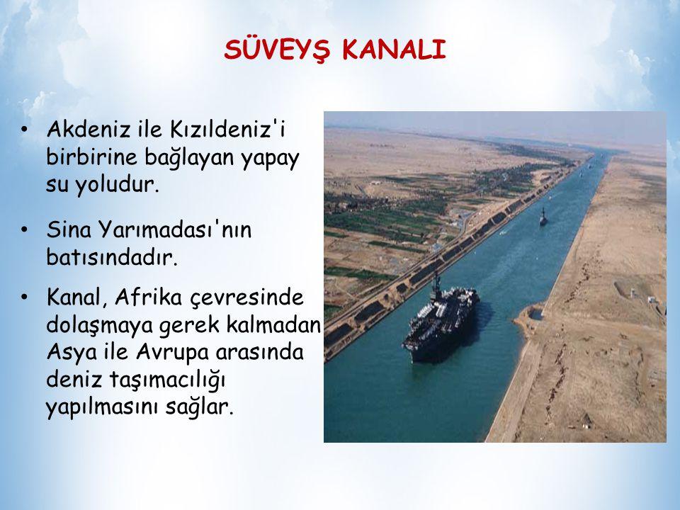 SÜVEYŞ KANALI Akdeniz ile Kızıldeniz i birbirine bağlayan yapay su yoludur. Sina Yarımadası nın batısındadır.