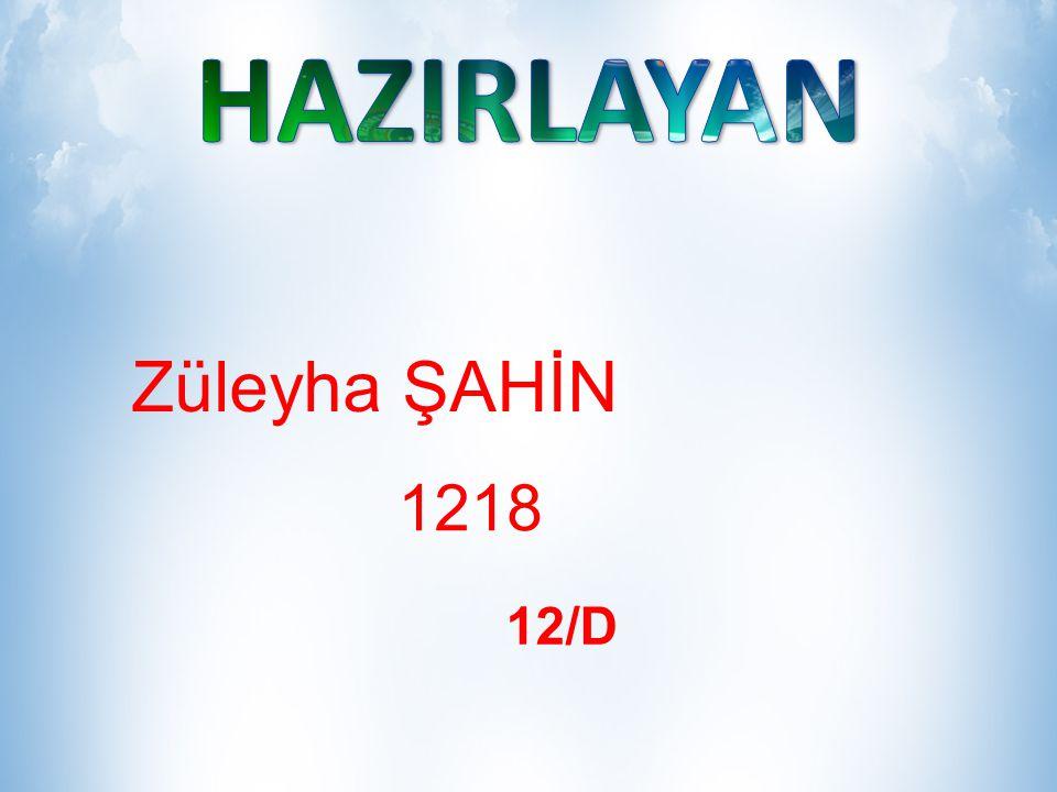 HAZIRLAYAN Züleyha ŞAHİN 1218 12/D