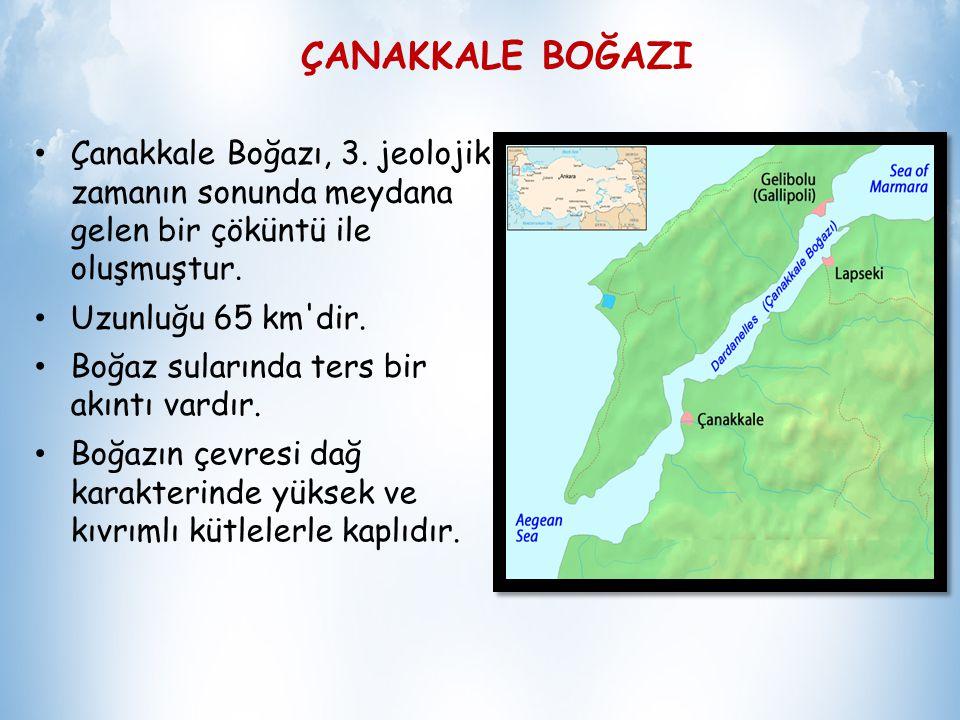 ÇANAKKALE BOĞAZI Çanakkale Boğazı, 3. jeolojik zamanın sonunda meydana gelen bir çöküntü ile oluşmuştur.