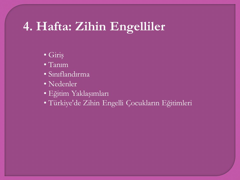 4. Hafta: Zihin Engelliler