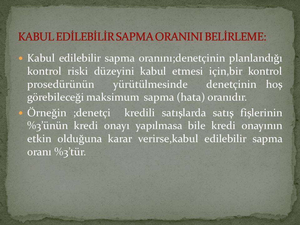 KABUL EDİLEBİLİR SAPMA ORANINI BELİRLEME: