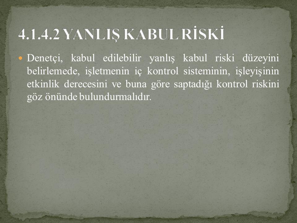 4.1.4.2 YANLIŞ KABUL RİSKİ