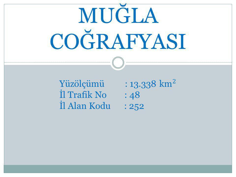 MUĞLA COĞRAFYASI Yüzölçümü : 13.338 k m 2 İl Trafik No : 48