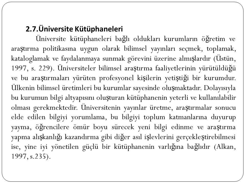 2.7.Üniversite Kütüphaneleri