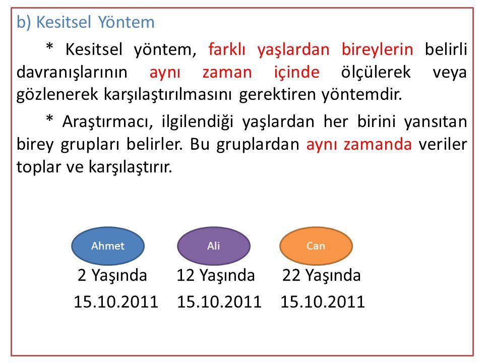 b) Kesitsel Yöntem * Kesitsel yöntem, farklı yaşlardan bireylerin belirli davranışlarının aynı zaman içinde ölçülerek veya gözlenerek karşılaştırılmasını gerektiren yöntemdir. * Araştırmacı, ilgilendiği yaşlardan her birini yansıtan birey grupları belirler. Bu gruplardan aynı zamanda veriler toplar ve karşılaştırır. 2 Yaşında 12 Yaşında 22 Yaşında 15.10.2011 15.10.2011 15.10.2011