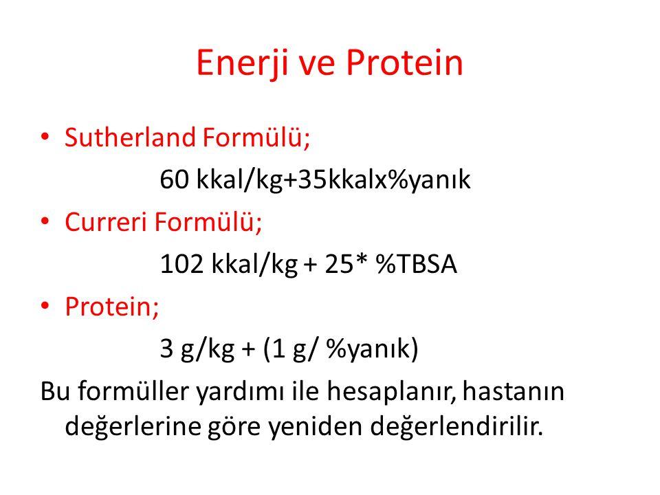 Enerji ve Protein Sutherland Formülü; 60 kkal/kg+35kkalx%yanık