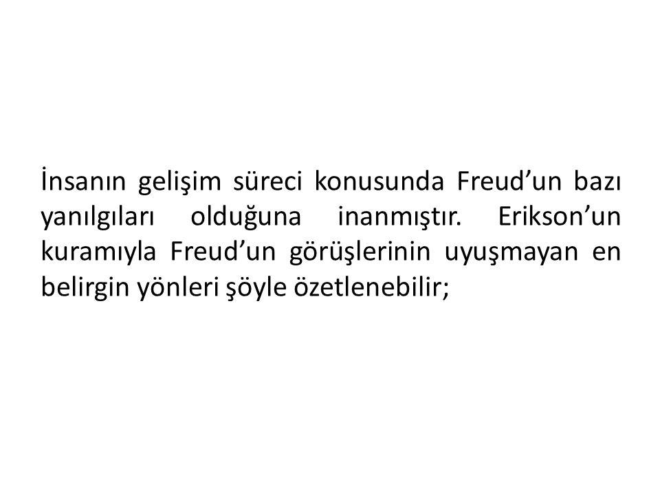 İnsanın gelişim süreci konusunda Freud'un bazı yanılgıları olduğuna inanmıştır.