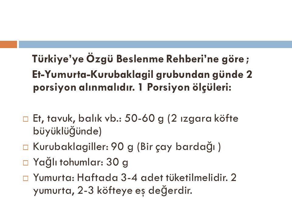 Türkiye'ye Özgü Beslenme Rehberi'ne göre ;