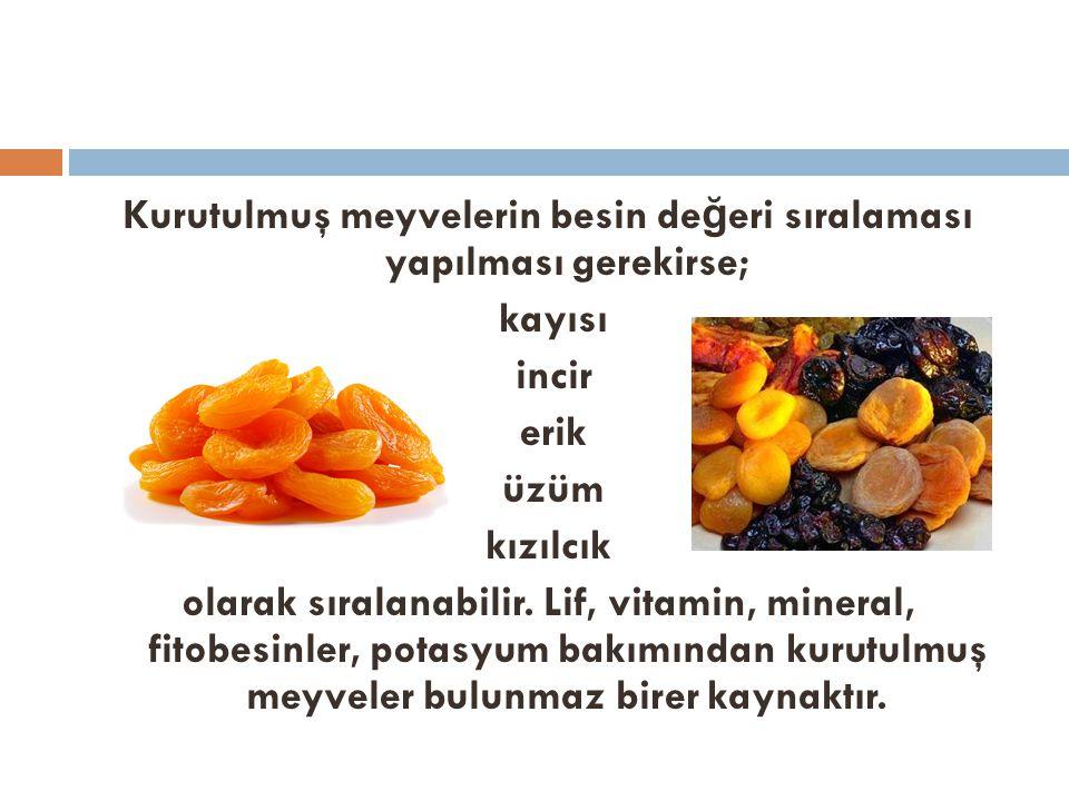 Kurutulmuş meyvelerin besin değeri sıralaması yapılması gerekirse;