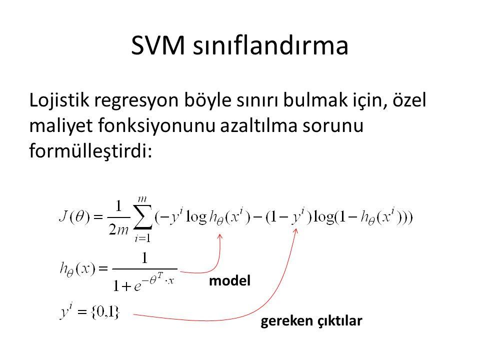 SVM sınıflandırma Lojistik regresyon böyle sınırı bulmak için, özel maliyet fonksiyonunu azaltılma sorunu formülleştirdi: