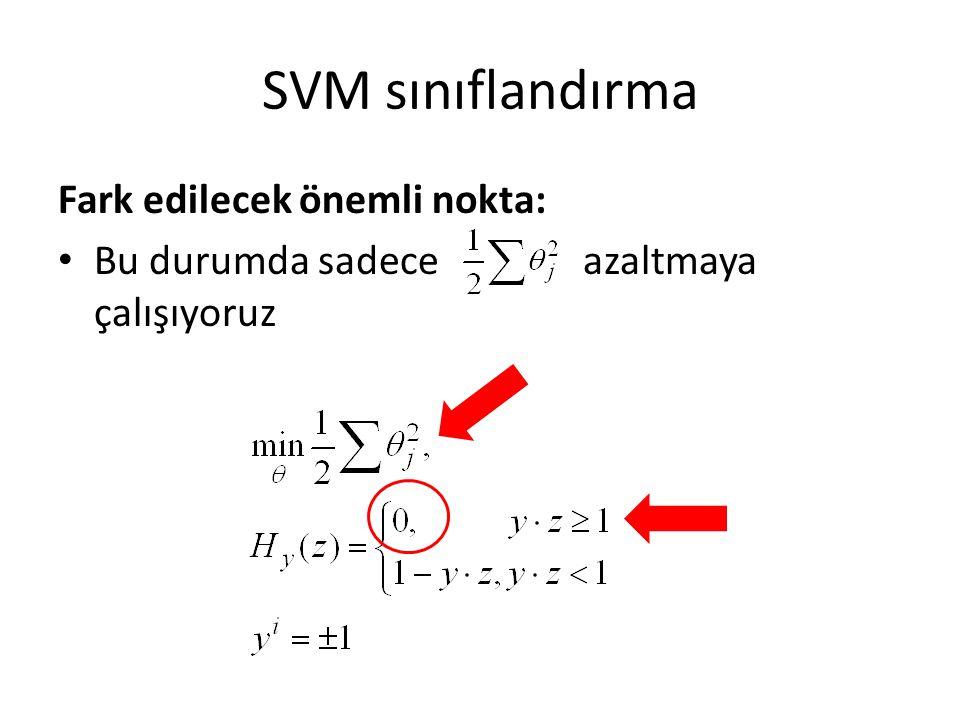 SVM sınıflandırma Fark edilecek önemli nokta: