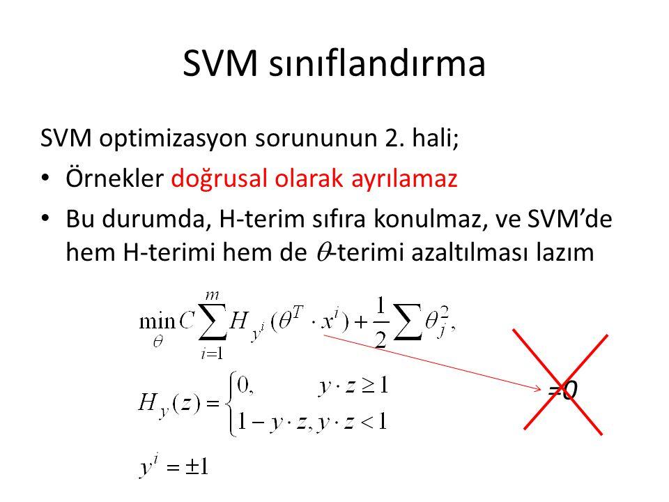 SVM sınıflandırma =0 SVM optimizasyon sorununun 2. hali;