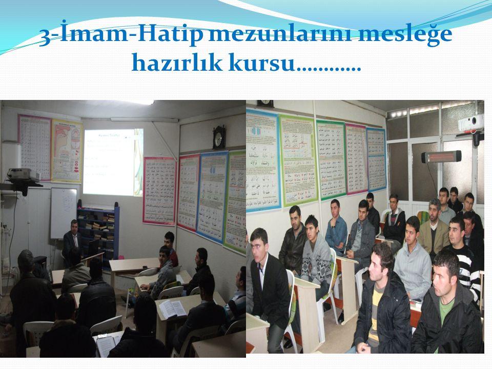 3-İmam-Hatip mezunlarını mesleğe hazırlık kursu…………